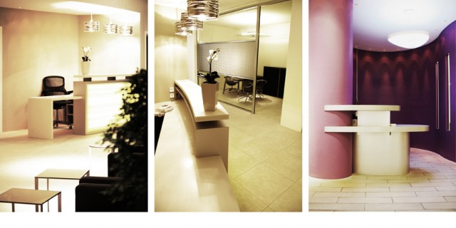 bank's layout mixing laminated stainless steel and Corian reception units