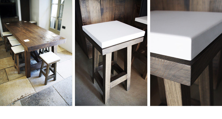 Customized wood furniture: table and chairs in solid chestnut