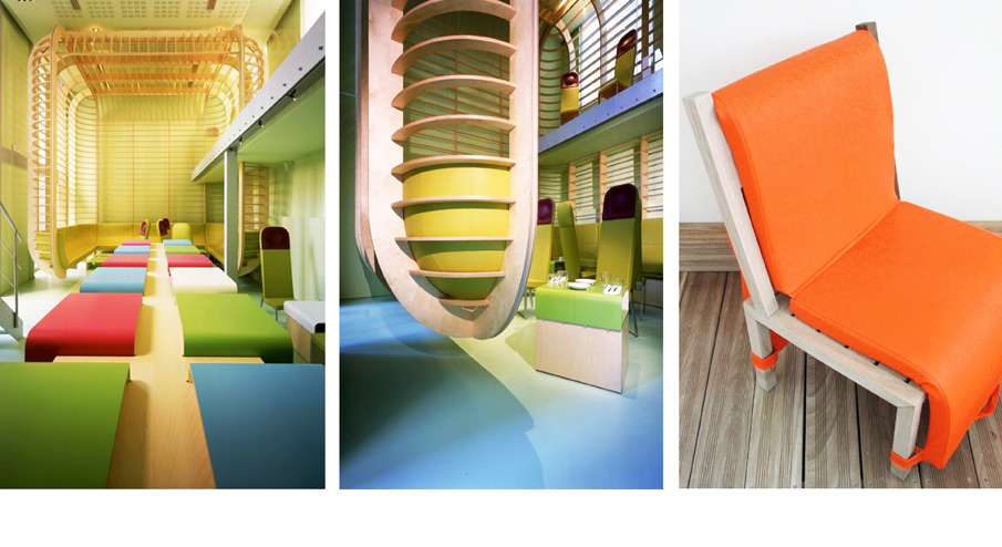 Hotel Layout mixing bright colors and woodcrafts